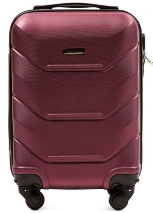 Чемодан пластиковый дорожная сумка на 4 колёсах мини 147 xs wings ( бордовый burgundy )3 фото