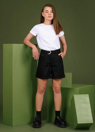 Шорты мом джинсовые черные школьные для девочки