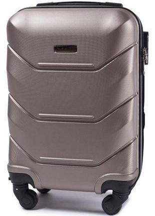 Чемодан пластиковый дорожная сумка на 4 колёсах мини 147 xs wings ( шампань  champagne )