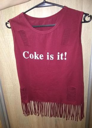 Майка с рюшами coke