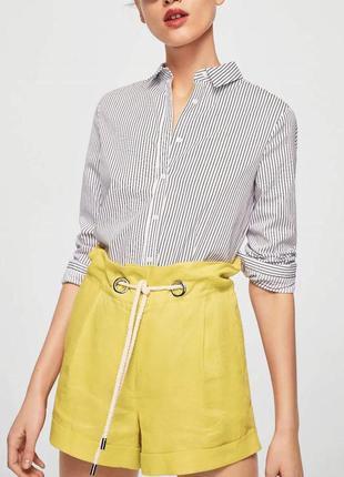 Стильные шорты с высокой посадкой mango, 100% лен