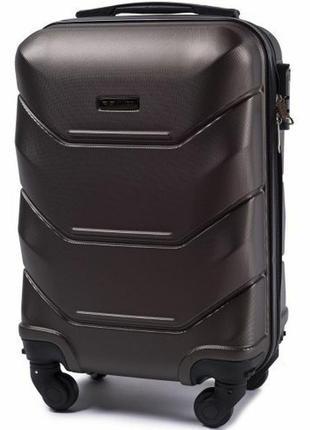 Чемодан пластиковый дорожная сумка на 4 колёсах мини 147 xs wings ( коричневый  coffee )