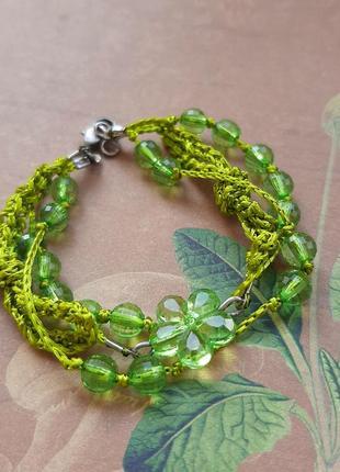 Браслет hand made зелёный цвет бижут тренд бусин бохо плетен