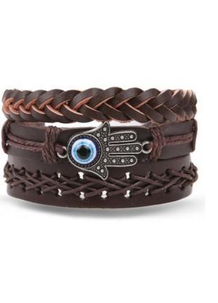 Крутой набор браслетов в стиле бохо еко кожа браслет унисекс рука ом