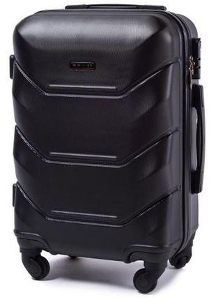 Чемодан дорожный (дорожная сумка) пластиковый на 4 колёсах маленький 147 s wings ( черный / black )