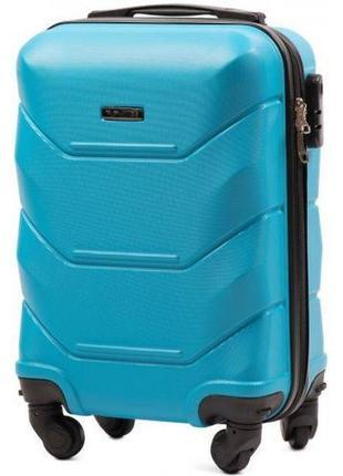 Чемодан пластиковый дорожная сумка на 4 колёсах мини 147 xs wings ( голубой  cyan )