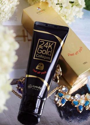 Маска-пленка для лица с золотом и коллагеном eyenlip 24k gold collagen peel off pack 100g
