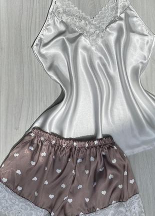 Сексуальная атласная/шелковая пижама шорты и майка с кружевом 46-50 турция