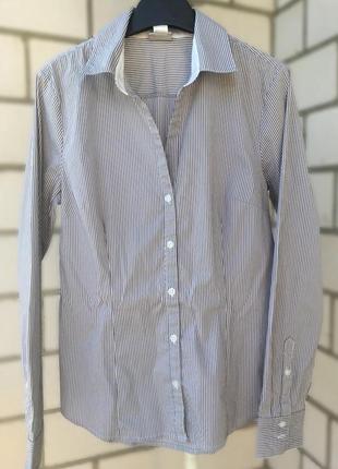 Классическая серая рубашка в полоску