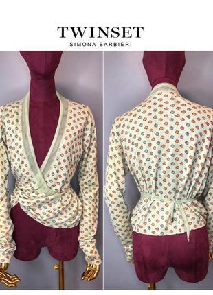 Twin-set simona barbieri вязаная блуза на запах кардиган накидка стразы owens lang