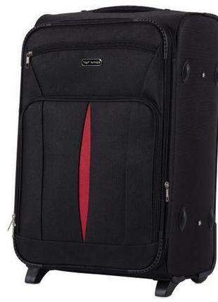 Чемодан тканевый дорожная сумка на 2 колёсах средняя 1601 m wings ( черный / black )