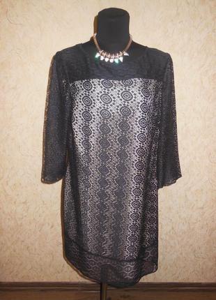 Кружевное коктельное платье прямого кроя