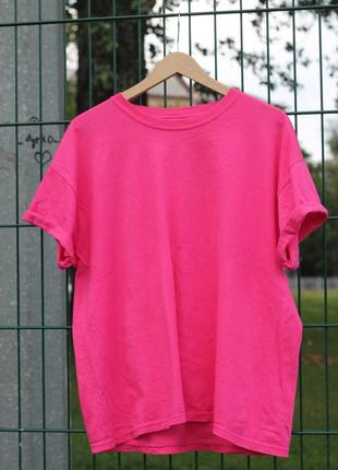 Крутая яркая оверсайз красивая футболка цвет малина 100% хлопок базовая3 фото
