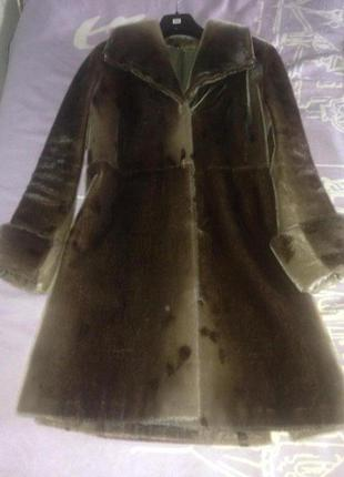 Шуба меховое пальто голубая нерпа. размер м