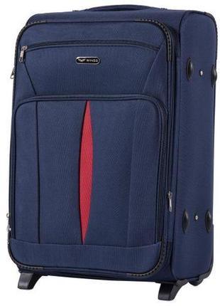 Чемодан тканевый дорожная сумка на 2 колёсах средняя 1601 m wings ( синий  blue )