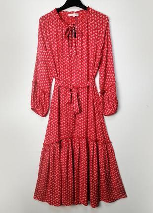 Красное платье с оборками в принт вискоза