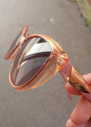 Стильные очки в персиковой оправе очки кошки очки лисички на маленькое лицо или на подростка
