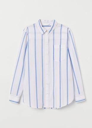 Хлопковая рубашка блузка с карманом в полоску принт2 фото