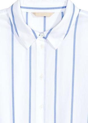 Хлопковая рубашка блузка с карманом в полоску принт3 фото
