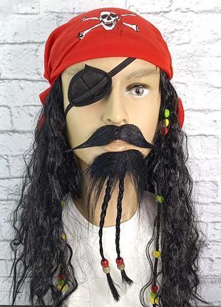 Карнавальные усы накладные и борода с косичками
