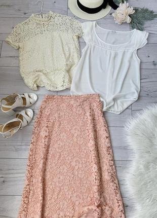 Комплект кружевная юбка миди зара блуза айвори и белая блуза р м