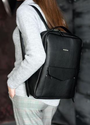 Шкіряний жіночий міський рюкзак на блискавці cooper чорний - bn-bag-19-noir