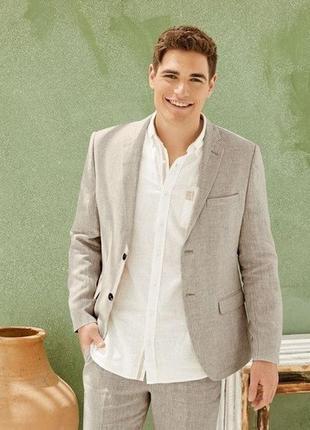 Стильный мужской льняной пиджак, блейзер livergy германия