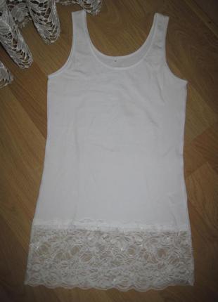 Майка  футболка  с кружевом - s chicoree