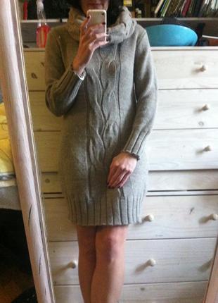 Тёплое бежевое платье шерсть мохер 20% италия 10-12+ хомутом