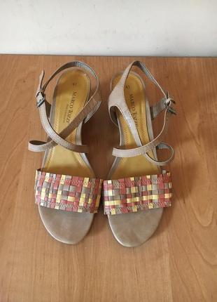 Летние удобные мягкие натуральные кожаные босоножки босоножечки сандали размер 41 40