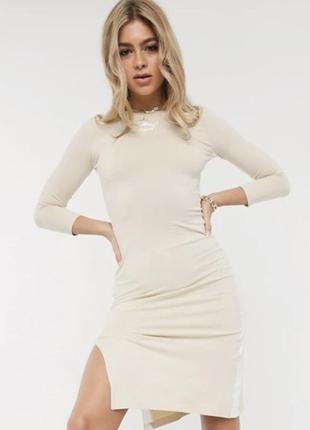 Бежевое платье мили с разрезом puma новое оригинал