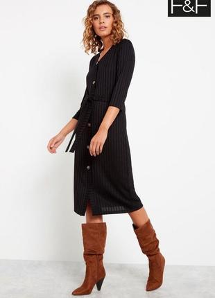 Идеальное платье миди на пуговицах чёрное платье в рубчик