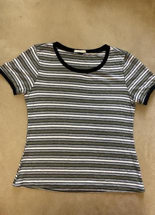 1+1=3 футболка  в полоску зі сріблястою ниткою