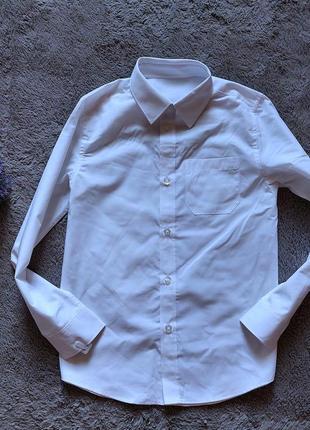 Белая рубашка длинный рукав для мальчика