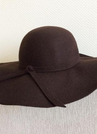 Стильная шерстяная фетровая шляпа с широкими полями 100% шерсть