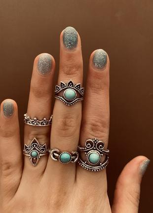 Набор колец 5 штук/ бирюзовые камни/ луна/ кольца на фаланги / большая распродажа