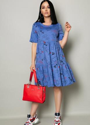 Женские прогулочное платье миди синее серое батал