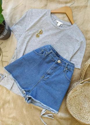 Короткие джинсовые шорты высокая посадка boohoo