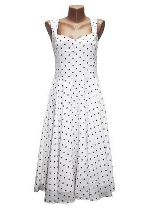 Платье винтажное в горошек, р.м