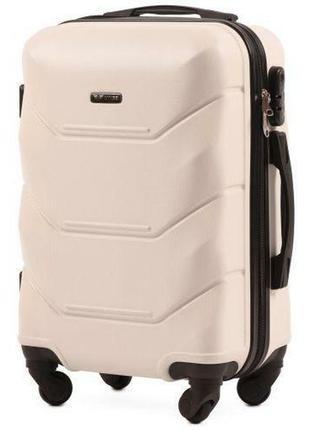 Чемодан дорожный (дорожная сумка) пластиковый на 4 колёсах маленький 147 s wings ( белый / white )