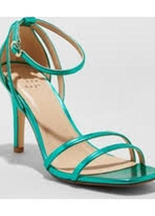 Шикарные изящные босоножки/открытые туфли a new day на высоком каблуке. цвет бирюза металлик.