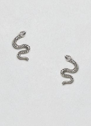 💕акція 1+1=3 срібні сережки гвоздики змійки ,серьги гвоздики змейки🌿з сайту asos