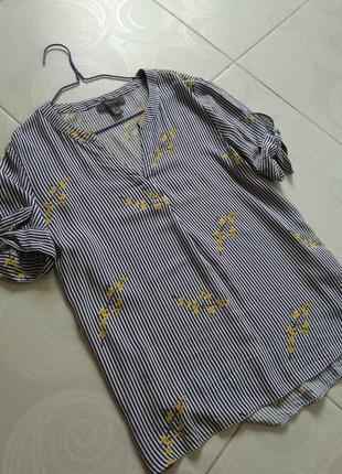 Вискозная блуза в полоску, цветочек с завязками на рукавах
