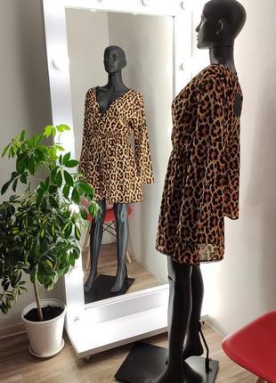 Шикарное платье  туника можно на пляж с отделкой леопардовое 😽