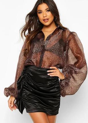 Новая рубашка с объемными рукавами и леопардовым принтом boohoo