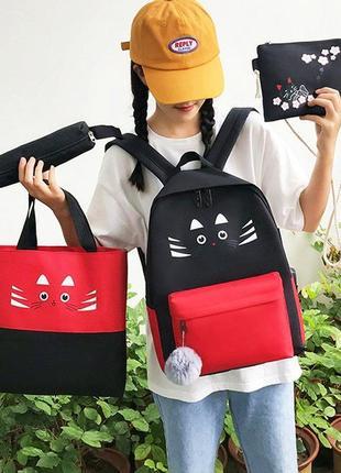 Набор рюкзак сумка клатч пенал. выбор. школьный портфель кошка. сумка-шоппер. рюкзак антивор
