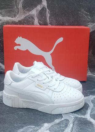 Стильные кроссовки puma cali белые,кожаные, женские