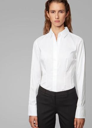 Белая брендовая рубашка hugo boss р 44 біла сорочка хьюго босс