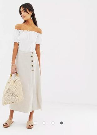 Красивая молочная юбка на пуговицах в складе есть льон 🌼🌼🌼