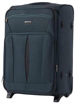 Чемодан тканевый дорожная сумка на 2 колёсах средняя 1601 m wings ( зеленый  dark green )